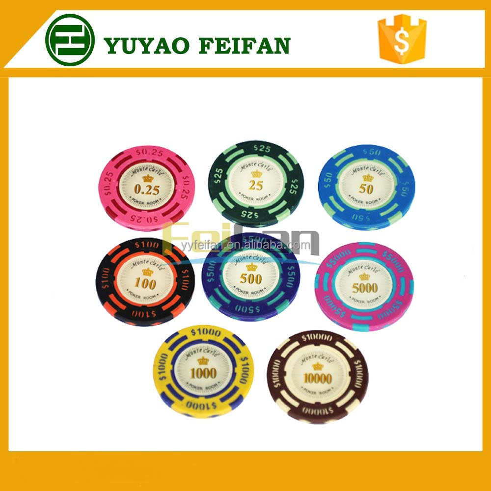 dollar printed 13.5g clay poker game chips with sticker