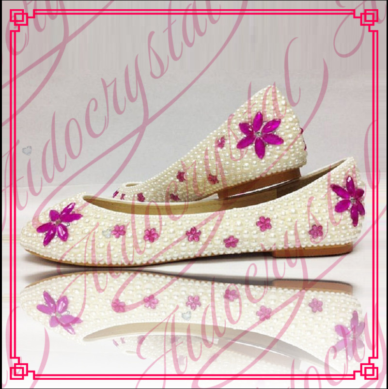 Aidocrystal new style flat pearls crystal bridal wedding shoes with hot pink flower