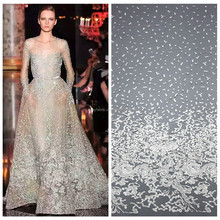 Off white organza sequence lace fabric tulle fashion bridal lace fabric wholesale HY0377