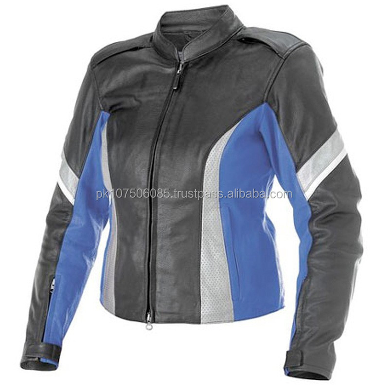 Black Blue biker Motorcycle Racing Leather Jacket