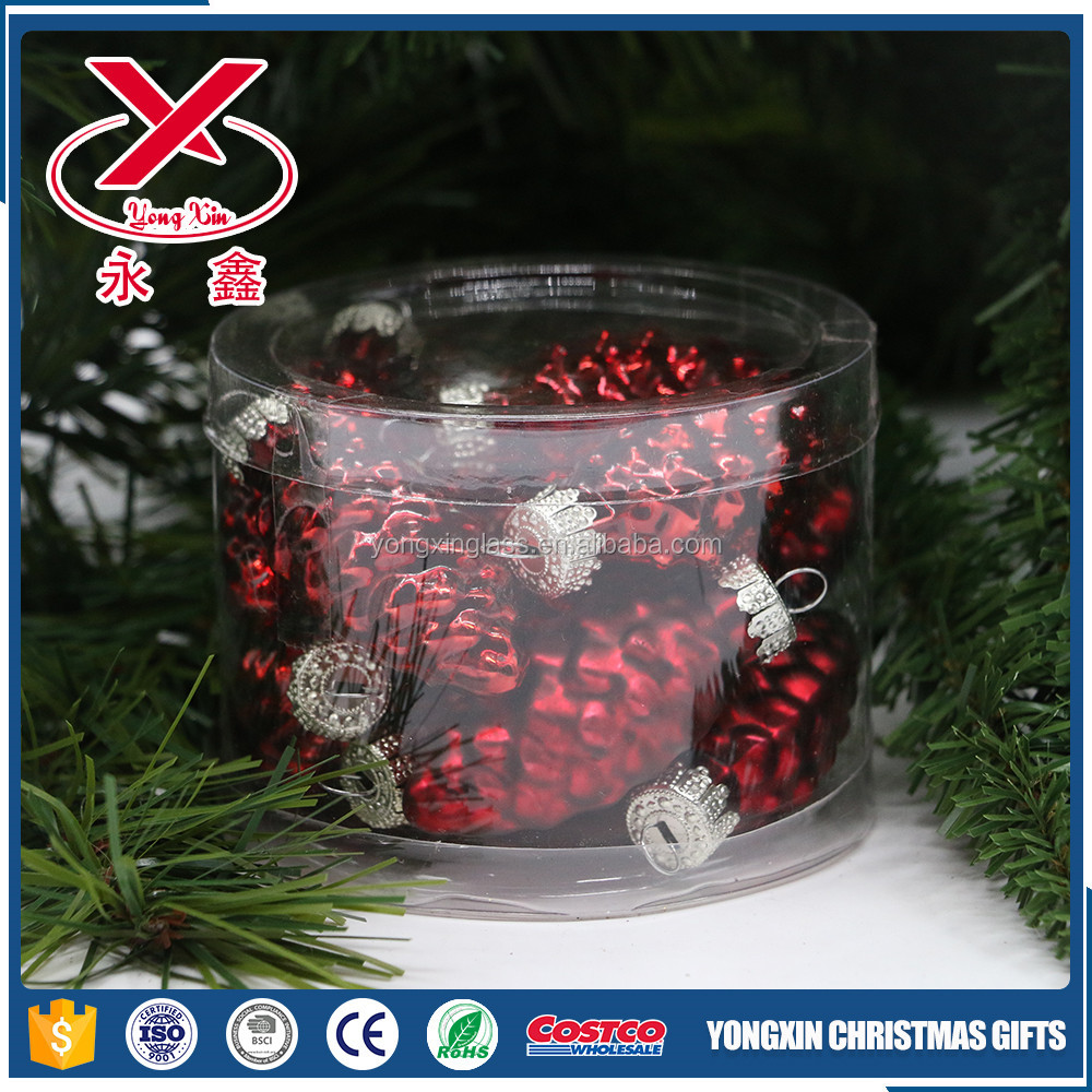 Colorful mini glass pinecones christmas hanging pinecone decorations