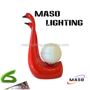 Maso Resin Wedding Bed Lamp Swan Sweet Design MS-T2002 for indoor decoration E27 Base