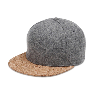 6 panel customize plain snapback hats and caps with cork brim