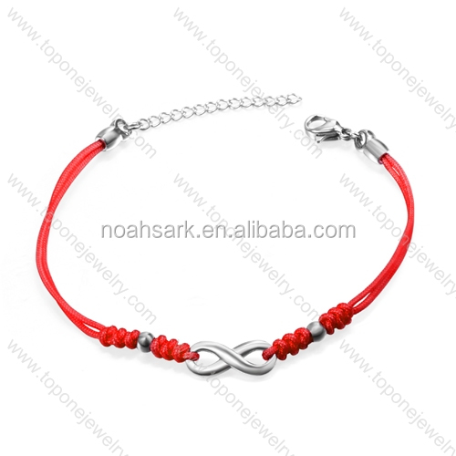 Best selling red color leather infinite forever love bracelet