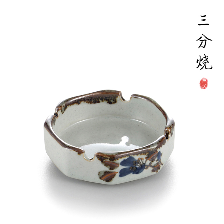 Hand painted flower design white ceramic ashtray with brown edge