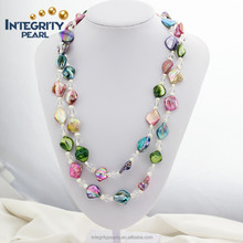 natural mixed color crystal beaded fashion long 47 inches mother of pearl necklace jewelry