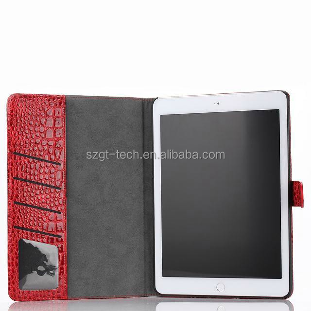 wholesale alibaba luxury ultra thin Crocodile pattern tablet case for ipad air 2 , for ipad air 2 wallet leather case