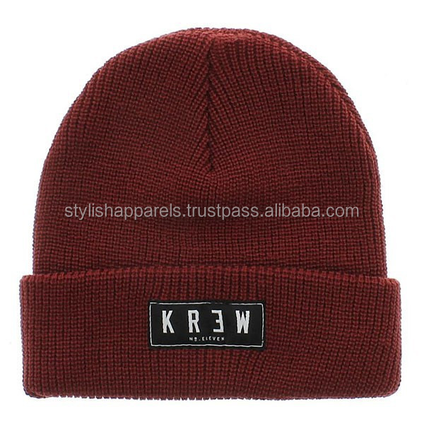 Burgundy Custom Rib Knit Beanie Hat