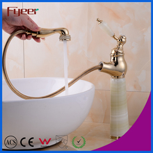 Golden Bathroom Long Body Pull Out Basin Faucet with White Jade Body Handle and Aerator