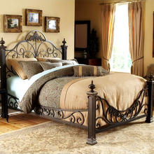 New hot fashion latest design wrought iron bed for sale