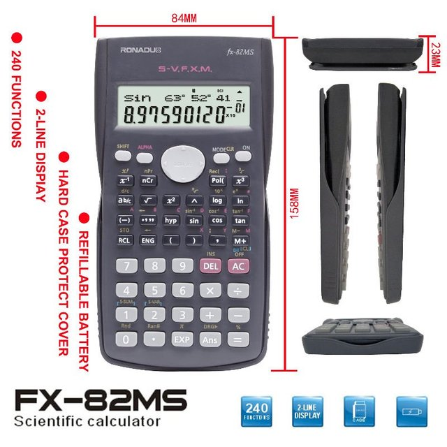 student for fractions with 2 lines display flip plastic cover scientific calculation calculator