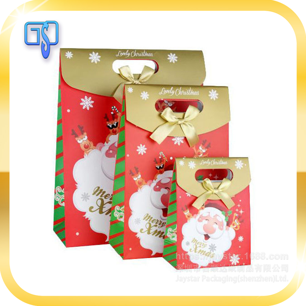 Christmas gift packaging mini paper bag with bowknot for candy packaging,Christmas gift paper bag