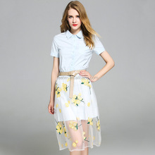 2017 fashion women summer new dress light blue long shirt with Embroidery with belt dress