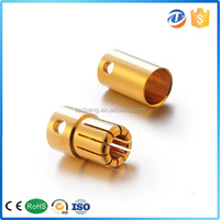 wire cable LED connector copper brass gold plated bullet banana plug 5mm 5.5mm 6.5mm 8mm