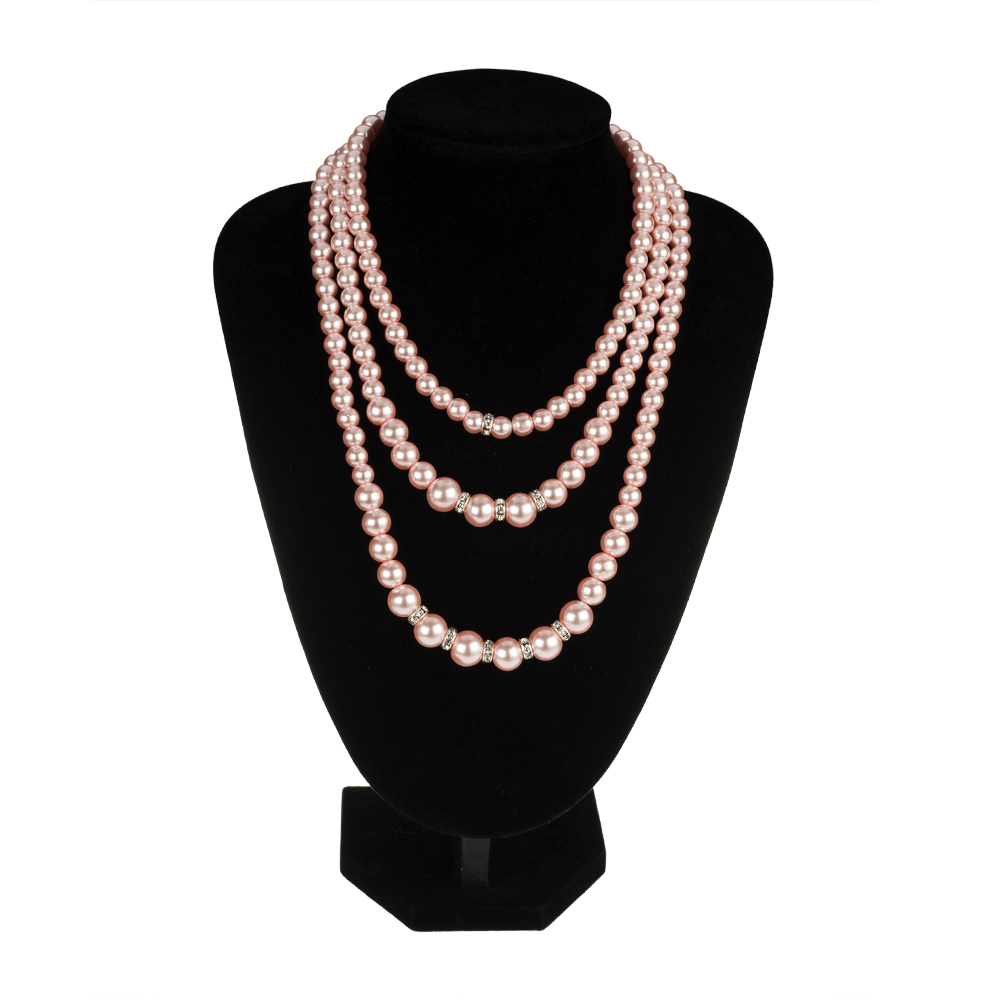 2016 fashion jewelry multi layer elegant pink pearl chunky silver necklace