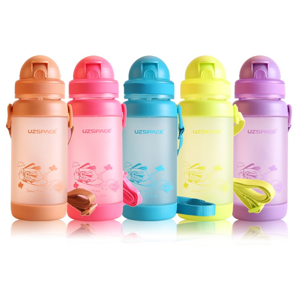 straps children water bottle 320ml single wall drinking colorful bottle