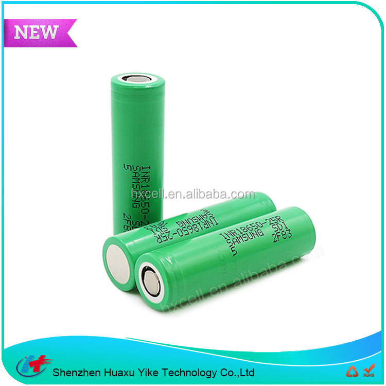 Rechargeable lithium ion battery samsung 25r samsung 18650 25r 3.7V 2500mAh/25R 3.6V 2500mAh li ion battery cell samsung 18650