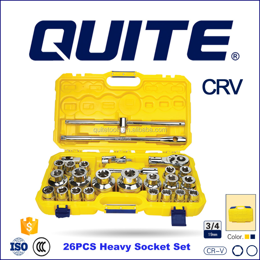 "High Quality Hand Tools Professional Auto Repair Tools 26pcs 3/4"" Metric Drive Socket Wrench Set"