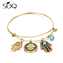 Stainless Steel Gold Hamsa Palm Turquoise Bracelet Thin Bangle Jewelry Women Gift