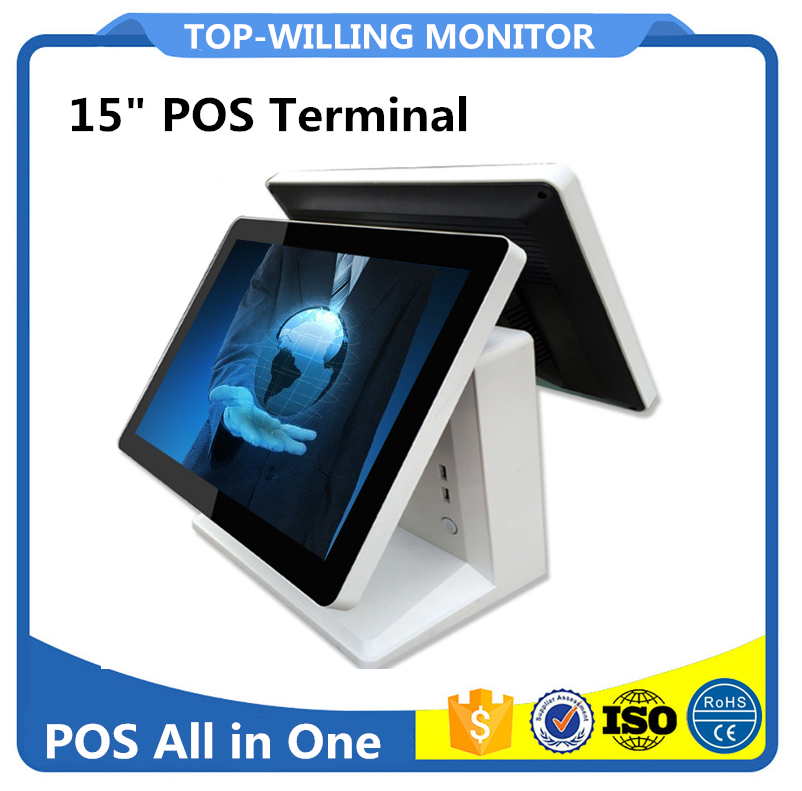 Dual Screens 15 inch LCD POS System 2G+32G SSD Windows 7 OS