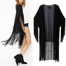 Black Tassels Fringed Cuff Hem Chiffon Kimono Cardigan Blouse Shirt Jacket Tops