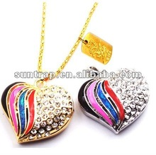 2GB,4GB,8GB heart shape jewelry diamond usb flash drive usb promotional business gift