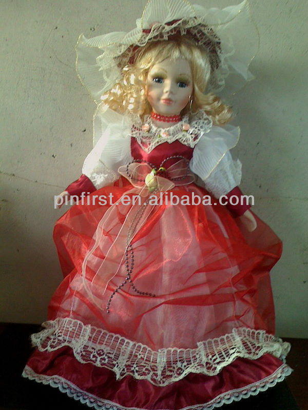 Ceramic Face Red Lace Dress Collectible Doll