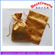 Wholesale luxurious gold satin drawstring gem pouch jewelry mystery bag