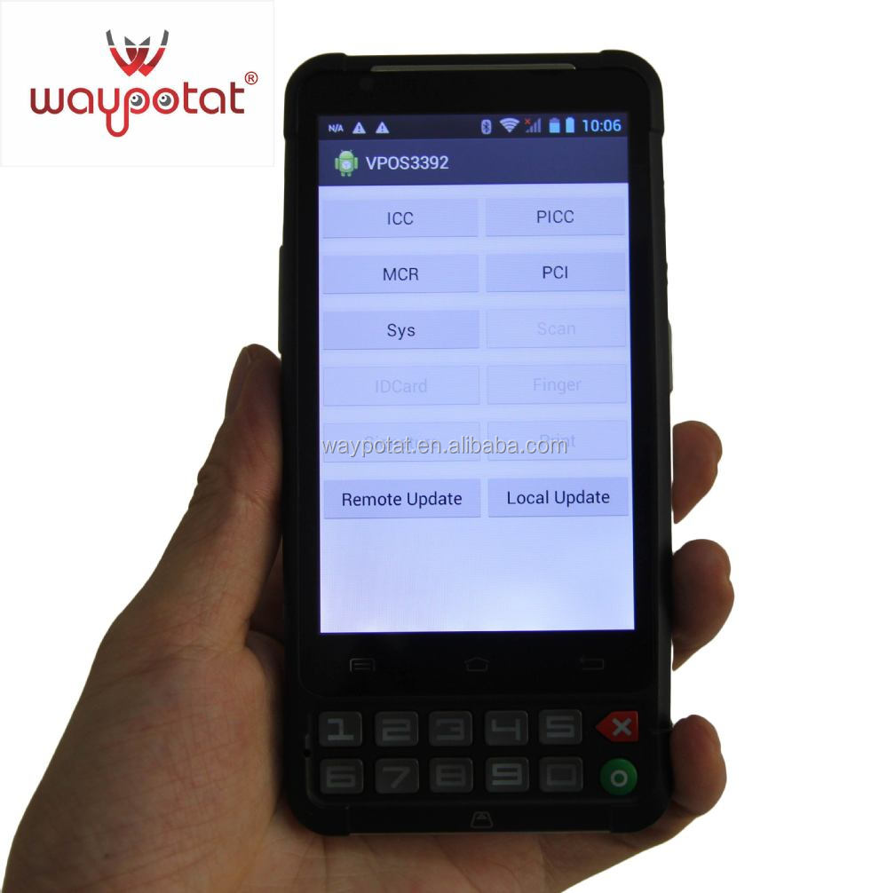 Smart Fingerprint 3G Mobile PDA POS System GPS/barcode/RFID/MCR/ICCR 4.3inch touch screen - PT392