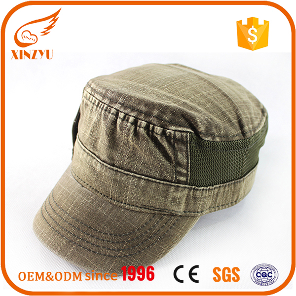 Wholesale fashion khaki enzyme washed ladies army german military caps