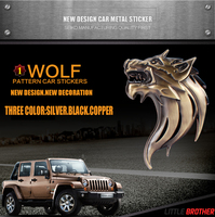 Newest Universal Rear Front Side Window Decals Car Styling 3D Wolf Head Emblem Decoration Badge Metal Auto Stickers Decal