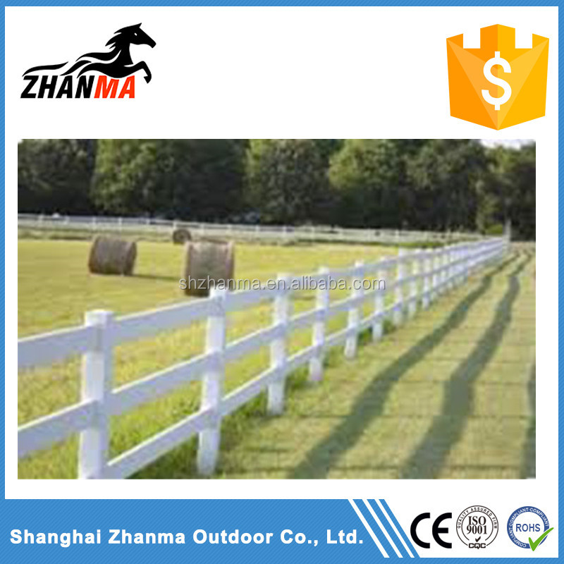 High Quality 3 rails white PVC Horse Fence, Ranch Fence, White Vinyl Fence