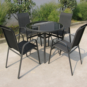 5pcs outdoor garden stack sling chair and round table coffee dining furniture set