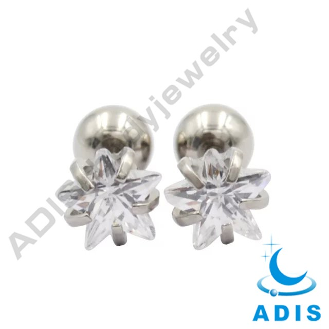 Hot sale anodized claw setting ear studs body piercing jewelry