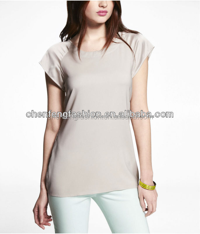 CHEFON Raglan sleeve zip back easy knit top CES0047