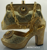 African Fashion Shoes and Matching Bags set with plenty stone gold color MS562 GOLD
