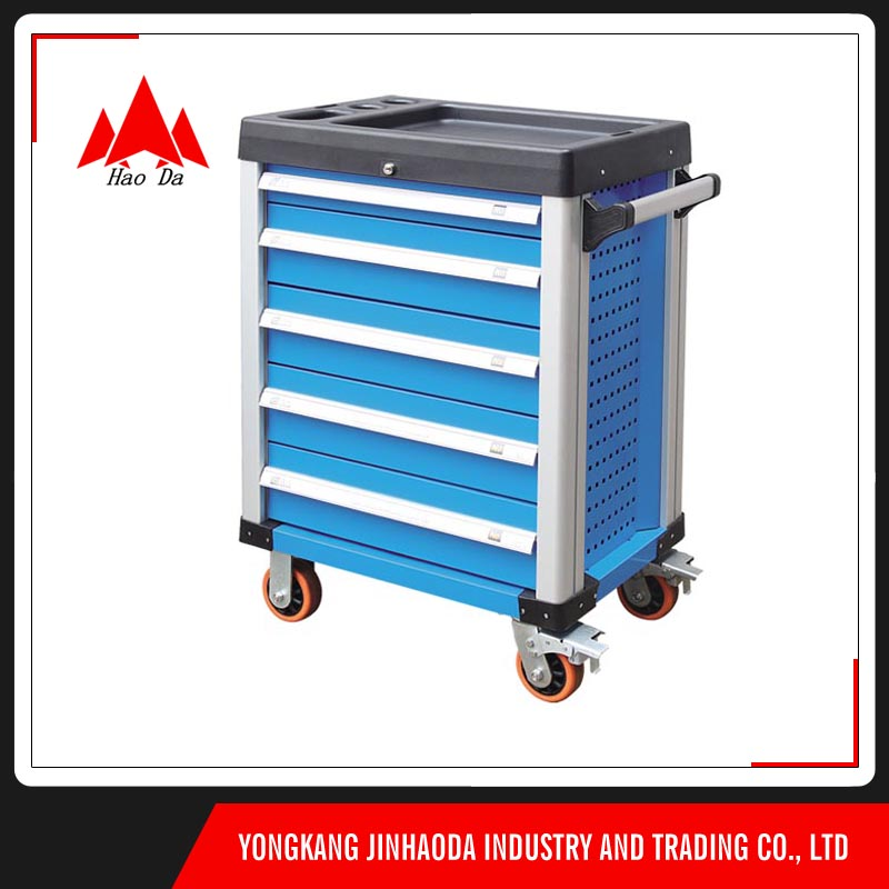 "blue metal tool cabinet aluminum handle 5"""" wheel with brake trolley"