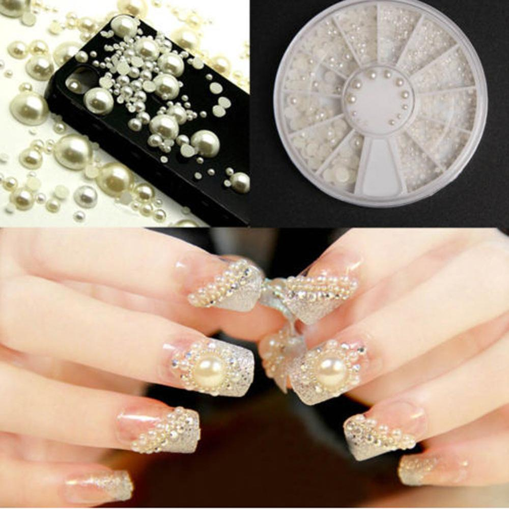 New nail art white pearl half pearl rhinestone craft decorations mixture in a 6cm box