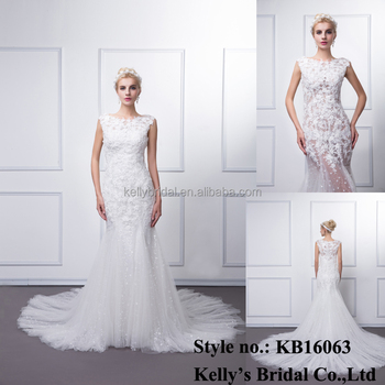 New arrival product made in china elegant short sleeve lace plain dyed draggle-tail bridal wedding dress online sale first
