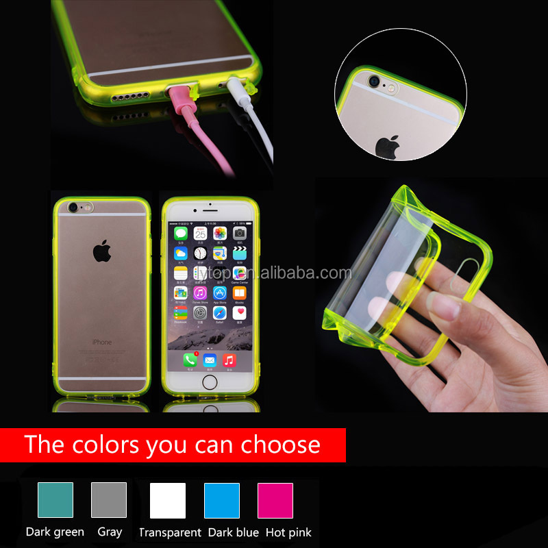 Ultra-slim acrylic crystal PC back cover case with TPU side for iPhone 6/6S,soft PC+TPU back case cover