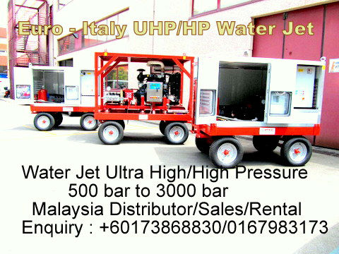 Hydrojet Contractor, High Pressure 500 bar to 3000 bar Waterjet Equipment Supplier/Sales Malaysia