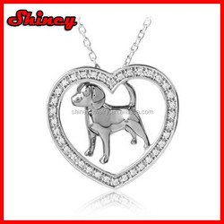 925 sterling silver heart love dog necklace