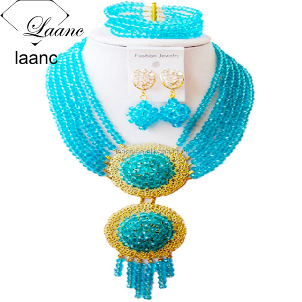 Costume 6 Rows Turquoise Blue Crystal African Wedding Beads Nigerian Necklace Bridal Jewelry Sets