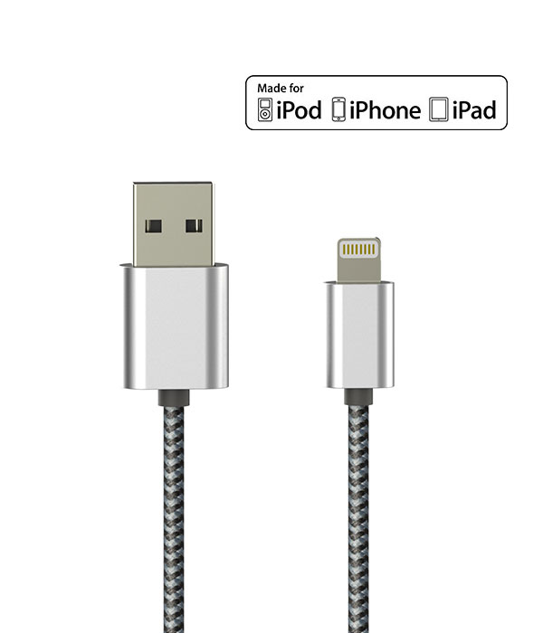 Portable Universal MFI 3.3ft Nylon Braided usb cables charger with Aluminum Connector