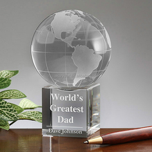 Hot sale award trophy design, clear world globe crystal glass trophy award