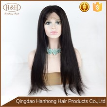 Wholesale 150% Density Unprocessed Brazilian Silky Straight Virgin Hair Full Lace Human Hair Wig With Baby Hair
