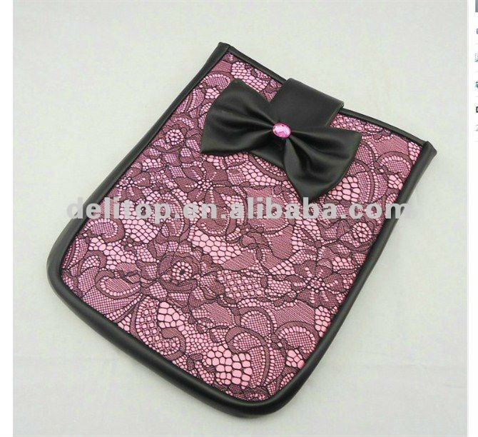 laptop lace sleeve leather case for the new ipad 3 5 colors available