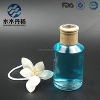 Home deco aroma diffuser glass bottle attar diffuser bottle with wooden caps