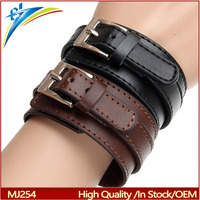 Fashion Double Belt Leather Wrist Friendship Big Wide Bracelet for Men Buckle Vintage Punk Jewelry