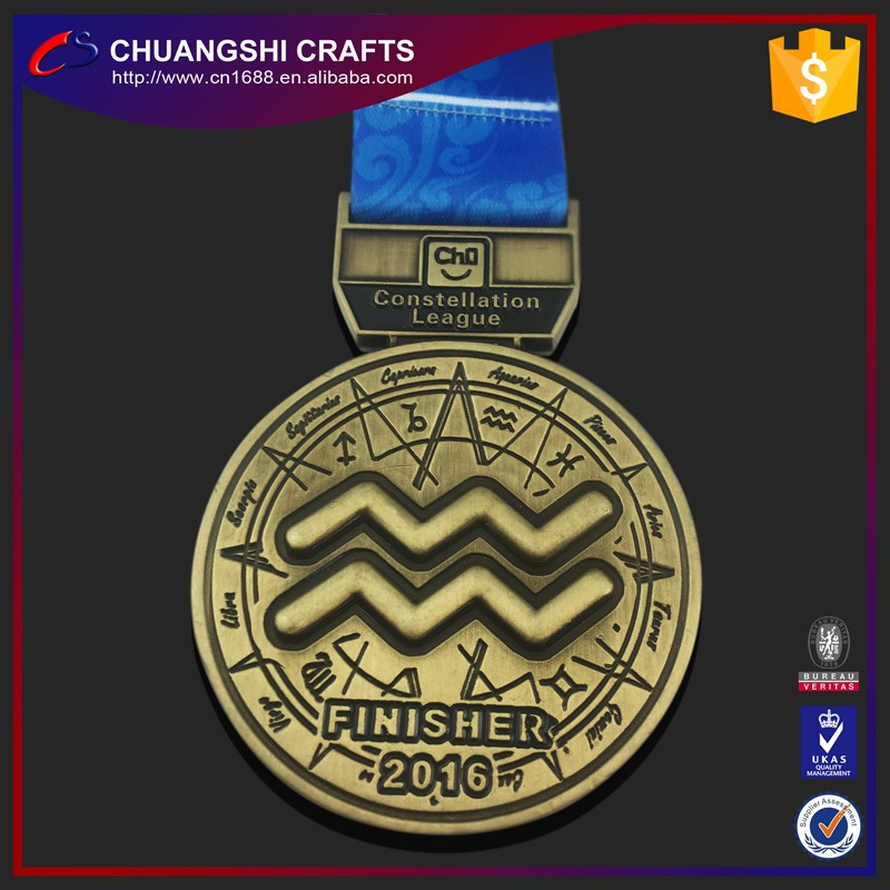 2017 Promotion cheap custom metal sport medal with ribbon